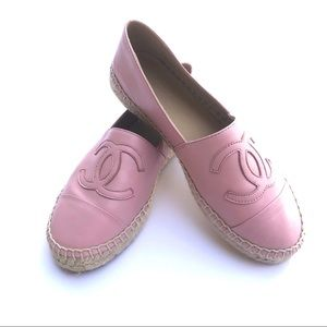 Chanel Pink Lambskin Espadrilles Size 38